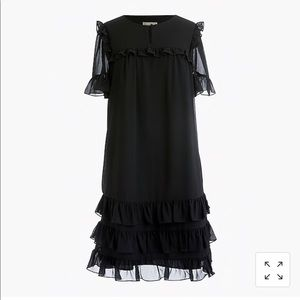 J crew Ruffle Dress in Crinkle Chiffon 14 Black